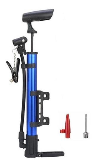 Bomba Alumínio Pneu Bicicleta Inflar Encher Bolas - Azul