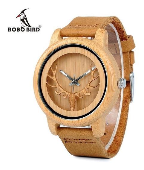 Relógio Unissex Bambu A27 Anal. Bobo Bird Cervo Promoção