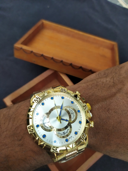 Relógio De Pulso Masculino Dourado De Luxo