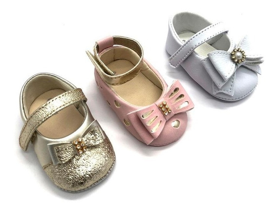 Kit 3 Sapatilhas Infantil Bebê Menina Laço Confort Festa