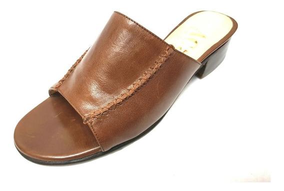 Zapatos Zueco Taco Bajo Madera!! 100% Cuero!!