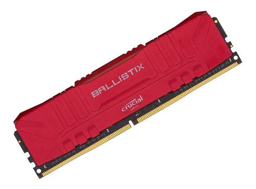 Memória Crucial Ballistix 8gb 3000mhz Ddr4 Vermelha