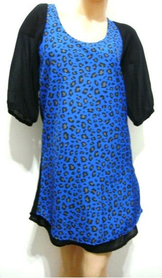 Lovely Luisa Vestido T1 Animal Print Azul Negro (ana.mar)