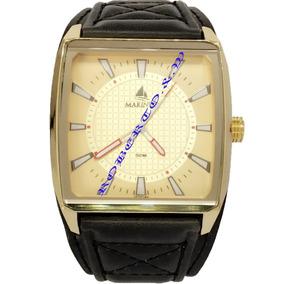 Relógio Masculino Caixa Dourado Pulseira Couro Preto