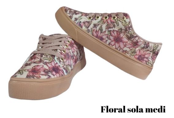 Tênis Feminino Floral Sapatenis Casual Promoção Conforto