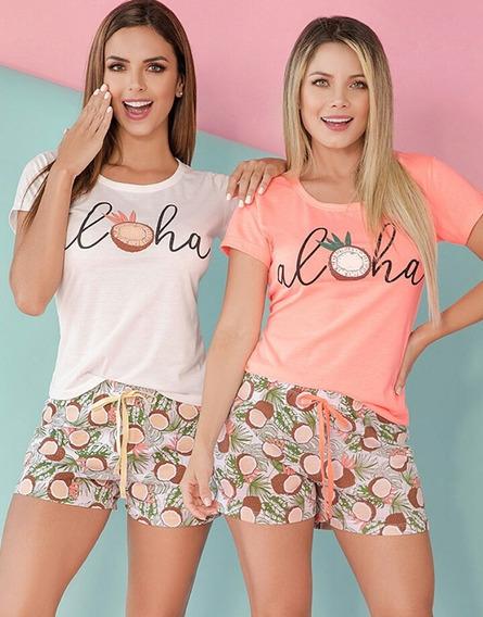 Pijama Aloha Mujer Juvenil Camiseta Short Multiuso X1 Unidad