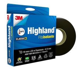 Fita Isolante Pvc Highland 19mm X 20m Preta 3m