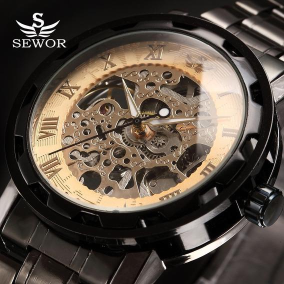 Relógio Semi Automático Steampunk Esqueleto Aço Sewor Preto