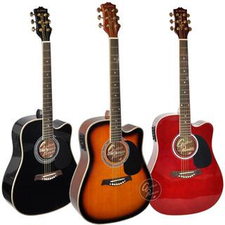 Guitarra Electroacustica Corte Jumbo Lujo Eq Afinador Funda