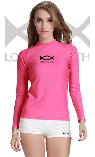 Camiseta Unicolor Licrada Para Mujer Fitness Y Gimnasio