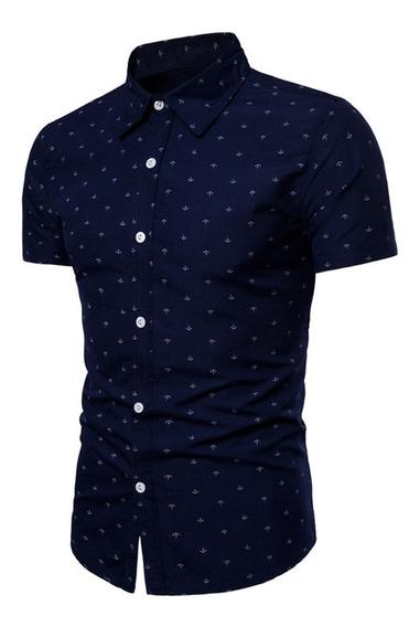 Camisa Slim Hombre Azul Marino Manga Corta