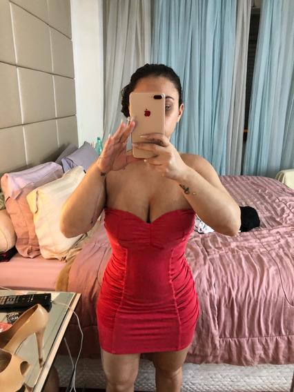 Vestido Laranjado Com Bojo Drapeado P/m