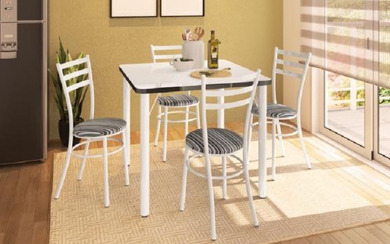 Mesa Branca Preta Quadrada 90cm + 04 Cadeira Banqueta Luca