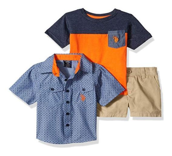 Kit 03 Peças - Camiseta, Camisa E Shorts - U.s. Polo Assn
