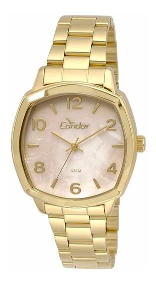 Relógio Condor Feminino Dourado Co2035krk/4x Lindo Vitrine