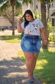 Short Saia Feminino Jeans Plus Size 44 54 56 58 60 62 64 66