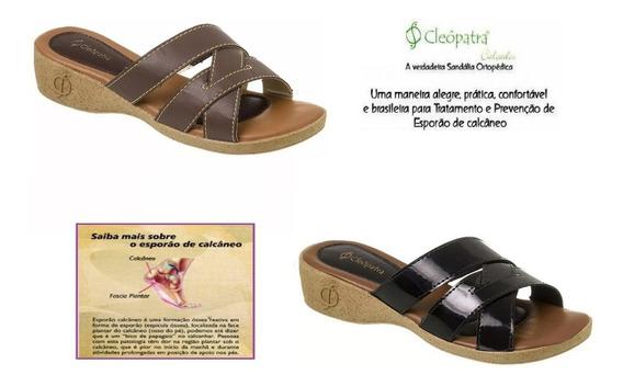 Sandália Ortopédica Couro Cleópatra Style Em 12x Sem Juros!