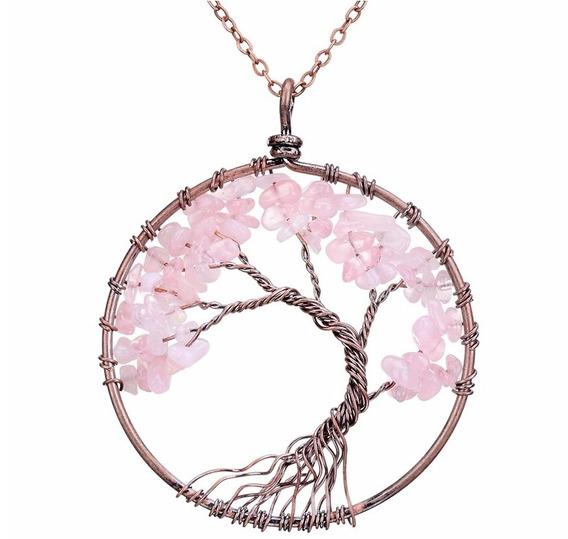 Colar Pedra Cristal Árvore Da Vida Quartzo Rosa Top Promoção