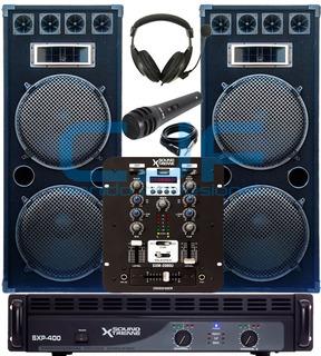 2 Bafle Doble 15 T 3000w+ Sxp400 + Mixer Usb Soundxtreme Cjf
