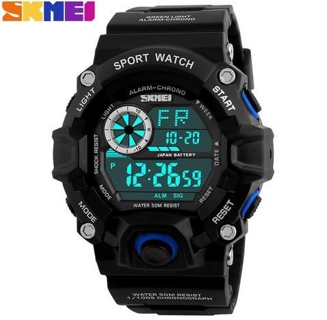 Relógio Digital Militar Preto/azul Á Prova D