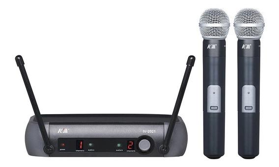 Microfone Sem Fio Duplo De Mão Icm 2021 C/ Maleta . Loja !