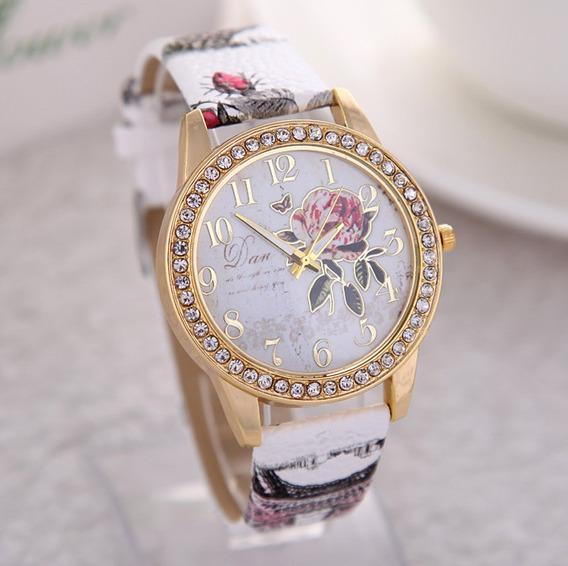 Relógio Luxo Rosas Vintage Floral Com Strass Feminino