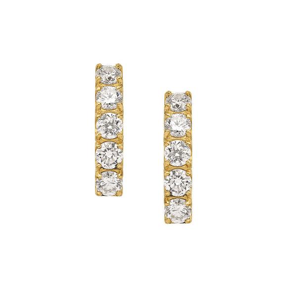 Meia Argola Em Ouro 18k (750) Com Diamantes .