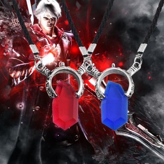 Colar Dmc Devil May Cry 5 Dante Azul E Vermelho Cosplay