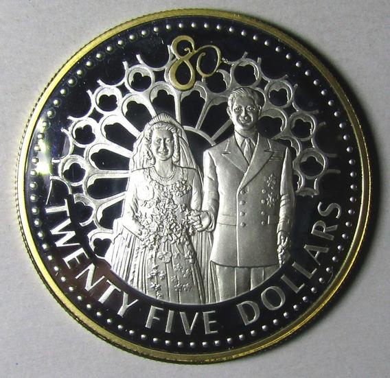 Islas Salomon 25 Dolares Plata Oro Reina Isabel Certificado
