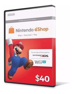 Cartão Nintendo 3ds Wii U Switch Eshop Cash $40 ($20+20$) Us