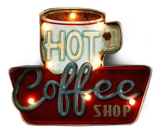 Luminoso De Parede Vintage Retrô Led Coffee Shop 36x29cm