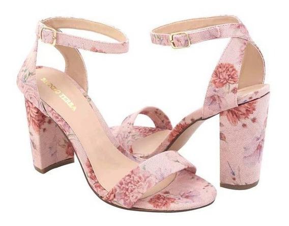 Sandalia De Tacón Para Dama Rosa Floral 016081