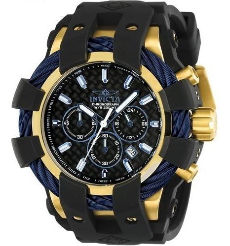 Relógio Glx6579 Invicta 23862 Bolt Dourado E Azul Borracha