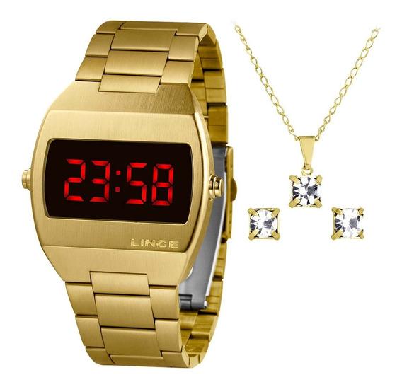 Kit Relógio Lince Feminino Mdg4620l Vxkx Digital Led + Nfe