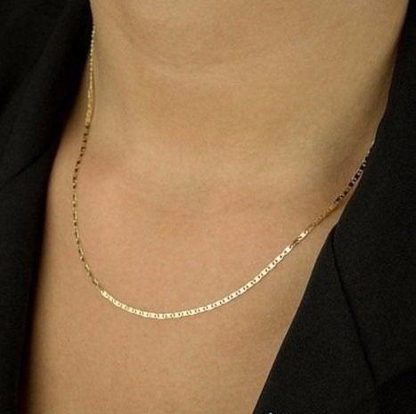 Colar Corrente Feminina 50cm Piastrine Ouro 18k 750 Maciça