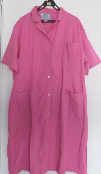 Guardapolvo De Mujer, Liso Color Rosa, Manga Corta