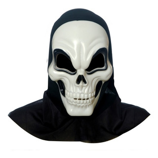 Máscara De Terror Caveira Branca Acessório Carnaval Fantasia