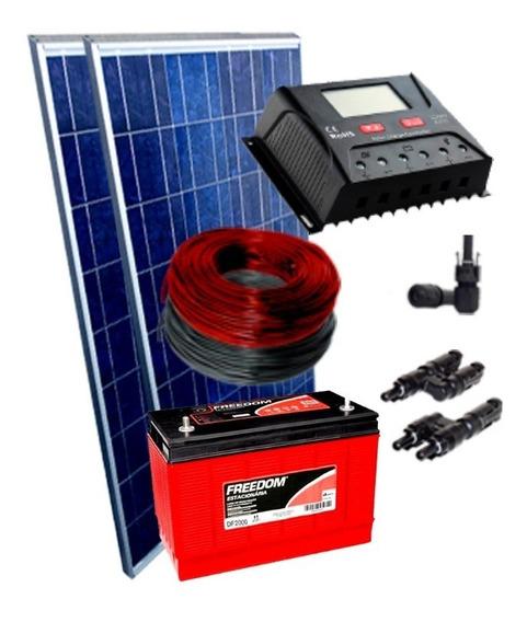 Kit 2 Placa Solar 150w Controlador 30a Bateria 115ah
