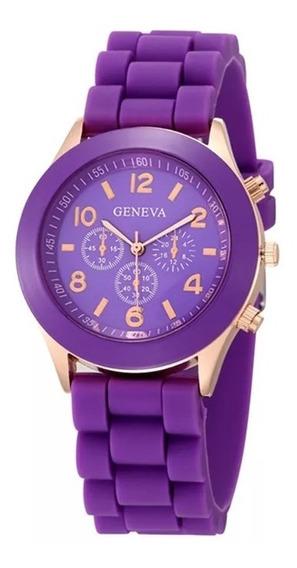 Relógio Feminino Geneva Pulseira Silicone Lindo E Barato