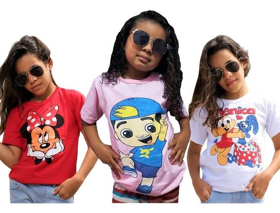 Kit Atacado C/5 Blusa Infantil Feminina De Personagem