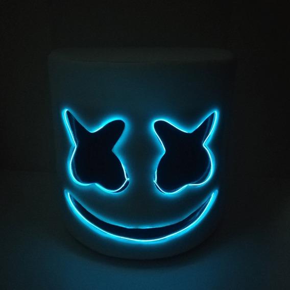 Casco Cabeza Mascara Con Luz Led Dj Marshmello Marshmallow