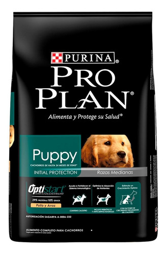 Alimento Pro Plan OptiStart Puppy para perro cachorro de raza mediana sabor pollo/arroz en bolsa de 3kg
