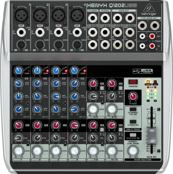 Mesa De Som Behringer Xenyx Q1202usb Mixer + Nf + Garantia - Com Nota Fiscal E Garantia De 2 Anos Proshows!