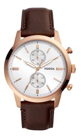 Relógio Masculino Fossil Townsman Fs5468/1mn Couro Marrom