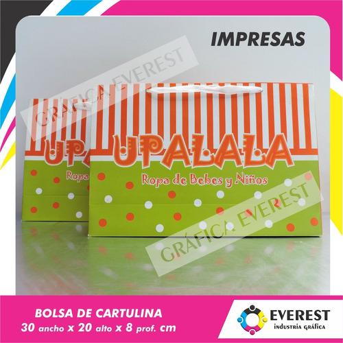 Bolsas De Cartulina 30x20x8 X 250u Impresas Offset 1 Color