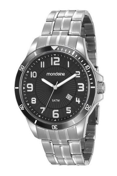 Relógio Masculino Mondaine Grande Pesado Prateado - Garantia E Nota Fiscal