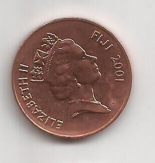 Fiji Moneda De 2 Cents Año 2001
