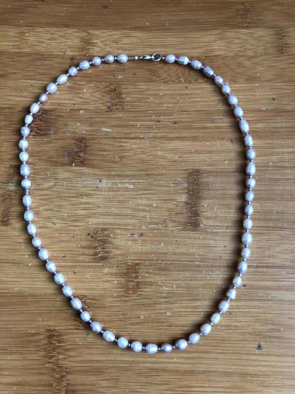 Antiguo Collar De Perlas Rosadas Y Plata