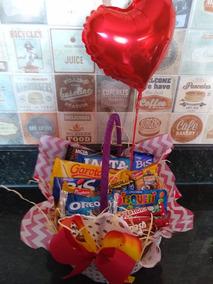 Cesta De Chocolate Com Balão Metalizado - Dia Dos Namorados