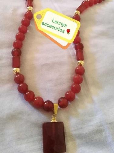 Collar En Piedra Natural De Cornalina Y Oro Laminado De 14k